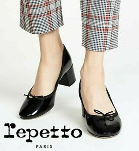 Repetto Jane Low Heel Pumps Ballet Shoe Bow Black Patent Leather FR 37 US 6