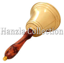 """Antique Style Large Brass and Wood School Bell / 11"""" Vintage Hand Bell Desk Bell"""