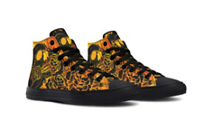 SKULL MANDALA ORANGE HIGH TOP SHOES | SALE