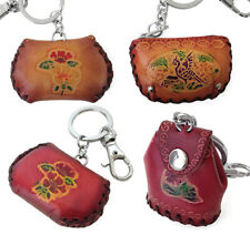 2-Pack Floral HAT POUCH Embossed Leather Snap on Button Clip on Ring Key Chain