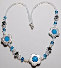 "23"" necklace, silver flowers, blue + opalite glass beads"