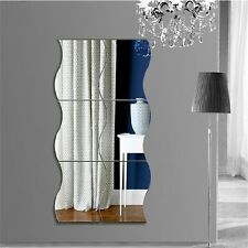 6pcs Waves Shape Self-adhesive 3D Mirror Wall Stickers Decal Room Decorations QR
