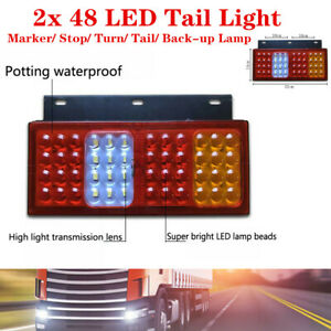 12V 48LED Car Rear Brake Reverse Lamps Stud Mount Stop Truck Turn Signal Lights