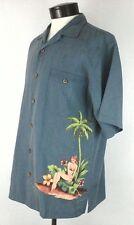 EUC $118 Tommy Bahama Mens  Hawaiian Hula Girl Silk Shirt Vintage Blue Small S