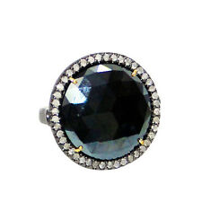14k Gold Diamond Pave Ring 925 Sterling Silver Black Spinel Gemstone Jewelry OY