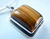 Tiger Eye 925 Sterling Silver Pendant Rectangle Brown New Corona Sun Jewelry