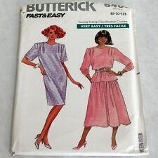 Butterick Vintage 1980s Fast Easy Pattern 6485 Misses Petite Dress Top Skirt