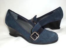 Easy Spirit Deanna wedge loafer blue suede 8 Med NEW