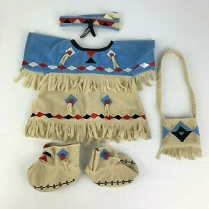Rare Build a Bear Native American Indian Costume Outfit Dress Bag Headband Shoes