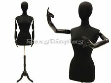 Female Mannequin movable arms and head Dress Form #JF-F6/8BKARM+BS-02BKX