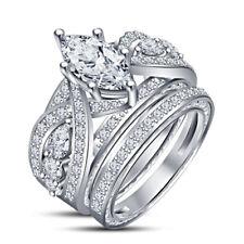 3.00 CT White Gold FN Marquise Diamond Womens Wedding Bridal Ring Set