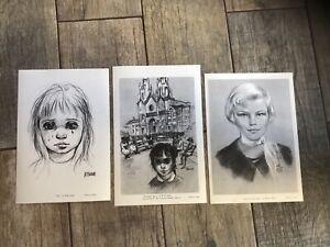 3 Vintage Big Eyes Margaret Walter Keane Black White Prints