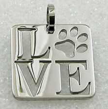 Love Paw Print Necklace Dog Stainless Steel Square Pendant Silver Cat Pet Lover