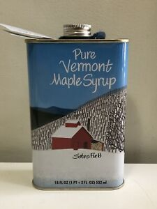 Sabra Field - Pure Vermont Maple Syrup Tin/ Pint Can; Limited Edition Snow Barn