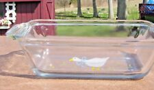 anchor hocking , charming - hard to fine glass loaf dish with goose design