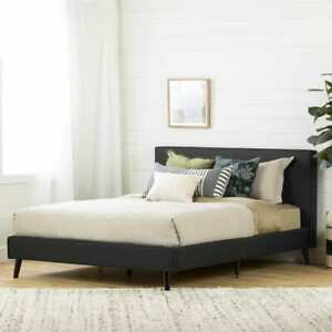 South Shore Gravity - Complete Upholstered Bed Queen Matte Charcoal