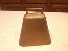 Vintage Metal Cow Animal Bell Working Condition Painted Metallic Gold Color