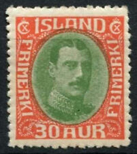 Iceland 1931-7 SG#189, 30a Yellow-Green And Scarlet MH #A90734
