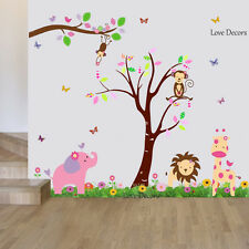 Animal Wall Stickers Monkey Jungle Zoo Nursery Baby Girls Pink Room Decal Art