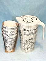 New 6pc DISNEY MICKEY MOUSE SKETCHBOOK ECO-FRIENDLY BAMBOO Pitcher Lid Tumbler