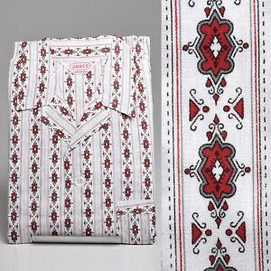 NOS 1950s Mens Sanforized Cotton Pajamas Set Rockabilly PJs Red Print VTG 50s