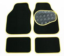 Volvo S40 / V40 (00-04) Black 650g Carpet & Yellow Trim Car Mats - Rubber Heel P