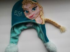 Disneys Frozen Girl's Elsa Knit Winter Hat with Long blonde hair braid Preowned
