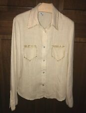 Camicia di LINO marca ELLA LU Italia con glitter e strass oro, Moda donna