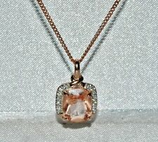 9ct Rose Gold on Silver Morganite & Diamond Pendant & Chain