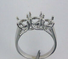 3 Stone Engagement Ring Mounting For 1/2 Carat Each Round 5 mm 14K White Gold