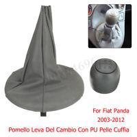 5 MARCE POMELLO DEL CAMBIO CON CUFFIA PU PELLE PER FIAT 500 500C PANDA 2003-2012