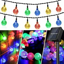 50 LED RGB Crystal Globe Solar String Lights Outdoor Waterproof 8 Modes Garden
