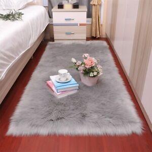 Rectangle Sheepskin Fluffy Area Rugs Fur Plush Carpet Living Room Floor Mat