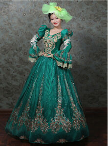 Vctorian Romantic Women Costume Dress Ball Gown Party Medieval Free Cap 4 Colors