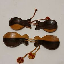 Vtg Castanets Carved Wood Spanish Flamenco Musical Instruments 2 sets