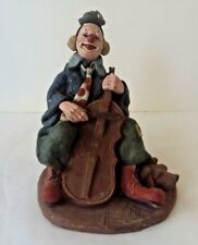 Sarah's Attic Large Encore Clown with Dog Playing Cello Bass #3306 1990 Sample