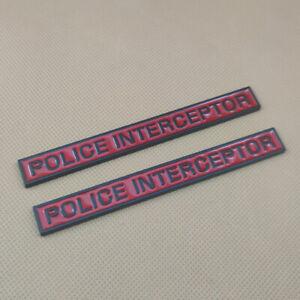 2x Metal POLICE INTERCEPTOR Black & Red Side Fender Emblem Sport Badge Sticker