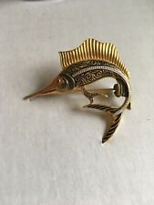 Vintage Swordfish Brooch Pin Made In Spain