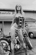 Vintage 70's Motorcycle Girl Photo Bizarre Odd Freaky Strange