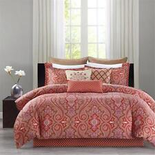 $190 Echo Design Aberdeen Cotton Madder Red 2pc Reversible Twin Duvet Cover Set