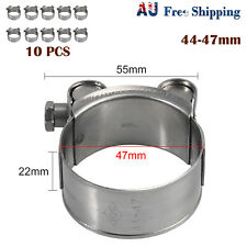 10pcs 44-47mm Stainless Steel Hose Clamp Heavy Duty Exhaust Turbocharged Clip AU