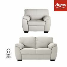 Argos Home Milano 2 Seat Leather Sofa and Chair - Light Grey