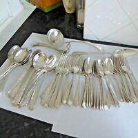 ANTIQUE SILVER PLATE CUTLERY 12 PLACE SETTINGS FORKS SPOONS 58 PCS MAPPIN & WEBB