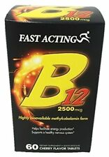 Fast Acting Vitamin B12 2500mcg, Cherry Dissolving Tablets, 60 Each (Pack of 4)
