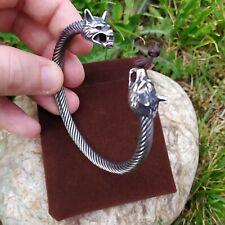 Bracelet Viking Ragnar Tête de Loup Acier Inoxydable Haut de Gamme
