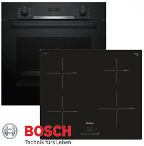 Induktion Herdset Autark Bosch HBA534EB0 Backofen schwarz + Inductions Kochfeld