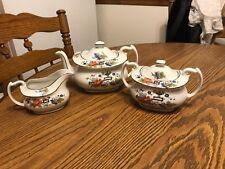 Phoenix Czechoslovakia Tea pot, Sugar bowl & Creamer, 5 pcs. Rare square design