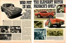 1968 OPEL KADETT AA/GAS HEMI - NORM PADDOCK  ~  ORIGINAL 2-PAGE ARTICLE / AD