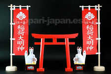 Japan Shinto Shrine Inari Kamidana Red Torii Flag Fox 5-items set Small Fushimi