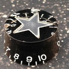 Black speed knob with silver star inlay for electric guitars from Warman Guitars